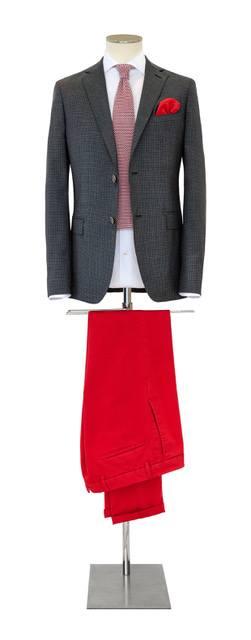Costume-sur-mesure bleu foncé et rouge - Christian Ambrosio