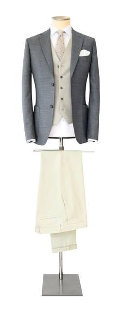 Costume-sur-mesure gris foncé avec gilet - Christian Ambrosio